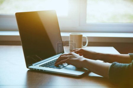 Photo for Woman using laptop while sitting at table near windows at sunny morning - Royalty Free Image