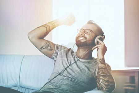 happy emotional man listening