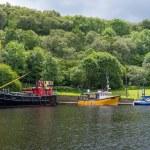 Old ships docked at Crinan canal. Hystoric ships e...