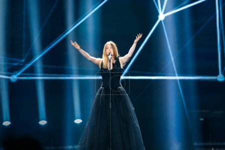 Photo for KYIV, UKRAINE - MAY 08, 2017:   Blanche from Belgium at the first semi-final rehearsal during Eurovision Song Contest, in Kyiv, Ukraine - Royalty Free Image