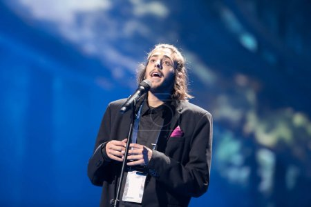 Photo for KYIV, UKRAINE - MAY 08, 2017:   Salvador Sobral from Portugal at the first semi-final rehearsal during Eurovision Song Contest, in Kyiv, Ukraine - Royalty Free Image