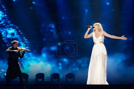 Photo for KYIV, UKRAINE - MAY 08, 2017:    Kasia Mos from Poland at the first semi-final rehearsal during Eurovision Song Contest, in Kyiv, Ukraine - Royalty Free Image