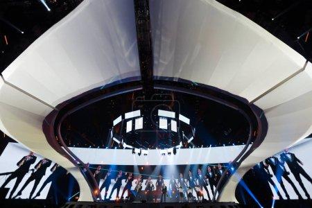 Foto de Kiev, Ucrania - 08 de mayo de 2017: Sunstroke Project de Moldavia en el primer ensayo semifinal durante la canción de Eurovisión, en Kiev, Ucrania - Imagen libre de derechos