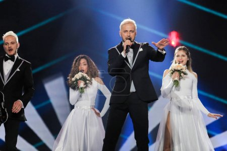 Photo for KYIV, UKRAINE - MAY 08, 2017:   Sunstroke Project from Moldova at the first semi-final rehearsal during Eurovision Song Contest, in Kyiv, Ukraine - Royalty Free Image
