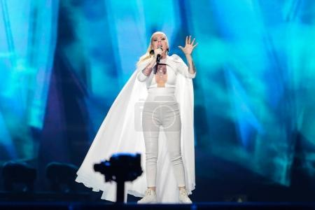 Photo for KYIV, UKRAINE - MAY 08, 2017:   Svala from Iceland at the first semi-final rehearsal during Eurovision Song Contest, in Kyiv, Ukraine - Royalty Free Image