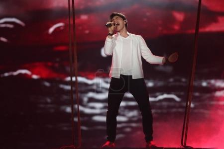 Photo for KYIV, UKRAINE - MAY 10, 2017: Brendan Murray from Ireland  at the second semi-final rehearsal during Eurovision Song Contest, in Kyiv, Ukraine - Royalty Free Image