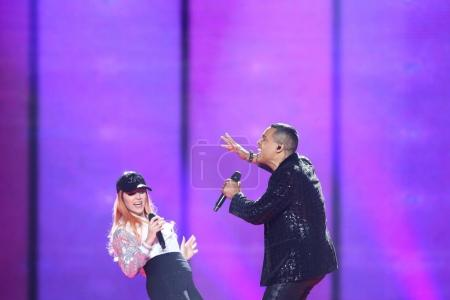 Photo for KYIV, UKRAINE - MAY 10, 2017: Valentina Monetta & Jimmie Wilson from San Marino at the second semi-final rehearsal during Eurovision Song Contest, in Kyiv, Ukraine - Royalty Free Image