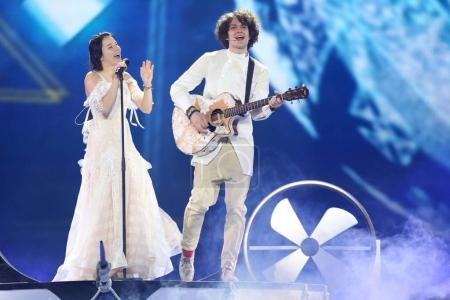 Photo for KYIV, UKRAINE - MAY 10, 2017:  Naviband from Belarus at the second semi-final rehearsal during Eurovision Song Contest, in Kyiv, Ukraine - Royalty Free Image