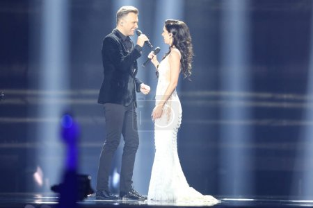Photo for KYIV, UKRAINE - MAY 10, 2017: Koit Toome & Laura from Estonia  at the second semi-final rehearsal during Eurovision Song Contest, in Kyiv, Ukraine - Royalty Free Image