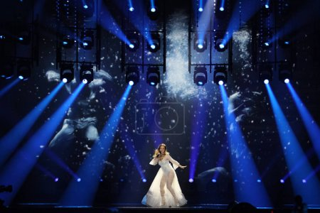 Photo for KYIV, UKRAINE - MAY 10, 2017:  Tijana Bogicevic from Serbia  at the second semi-final rehearsal during Eurovision Song Contest, in Kyiv, Ukraine - Royalty Free Image