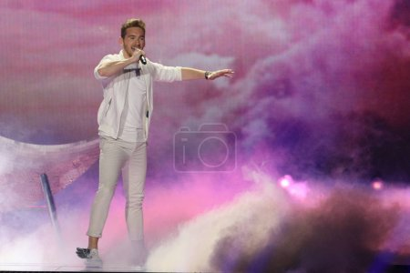 Photo for KYIV, UKRAINE - MAY 10, 2017:  Nathan Trent from Austria  at the second semi-final rehearsal during Eurovision Song Contest, in Kyiv, Ukraine - Royalty Free Image