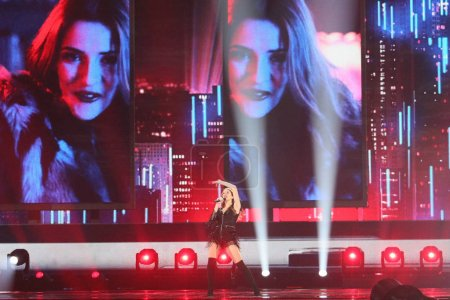 Photo for KYIV, UKRAINE - MAY 10, 2017:   Jana Burceska from Macedonia at the second semi-final rehearsal during Eurovision Song Contest, in Kyiv, Ukraine - Royalty Free Image