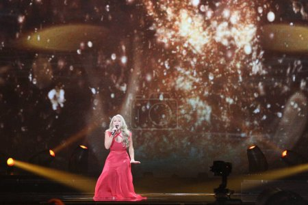 Photo for KYIV, UKRAINE - MAY 10, 2017:  Anja Nissen from Denmark at the second semi-final rehearsal during Eurovision Song Contest, in Kyiv, Ukraine - Royalty Free Image