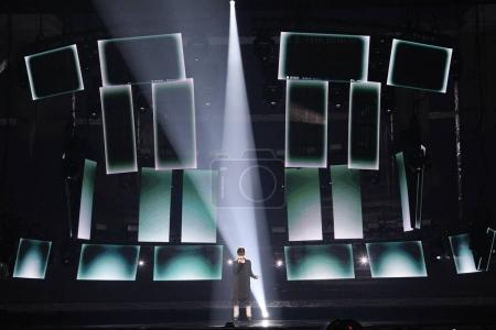 Photo for KYIV, UKRAINE - MAY 10, 2017:  Kristian Kostov from Bulgaria at the second semi-final rehearsal during Eurovision Song Contest, in Kyiv, Ukraine - Royalty Free Image