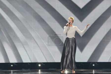 Photo for KYIV, UKRAINE - MAY 10, 2017:  Levina from Germany at the second semi-final rehearsal during Eurovision Song Contest, in Kyiv, Ukraine - Royalty Free Image