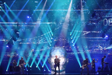 Photo pour KYIV, UKRAINE - MAY 10, 2017:  O.Torvald from Ukraine at the second semi-final rehearsal during Eurovision Song Contest, in Kyiv, - image libre de droit