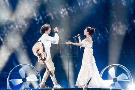 Photo pour Kiev, Ukraine - 12 mai 2017: Navi bande du Bélarus à la répétition de la grande finale durant le concours Eurovision de la chanson, à Kiev, Ukraine - image libre de droit
