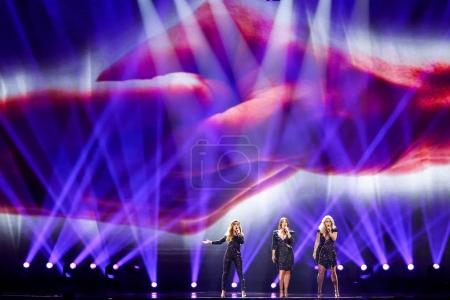 Photo for KYIV, UKRAINE - MAY 12, 2017: OG3NE from Netherlands at the Grand Final rehearsal during Eurovision Song Contest, in Kyiv, Ukraine - Royalty Free Image
