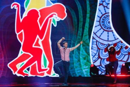 Photo for KYIV, UKRAINE - MAY 12, 2017: Francesco Gabbani from Italy at the Grand Final rehearsal during Eurovision Song Contest, in Kyiv, Ukraine - Royalty Free Image