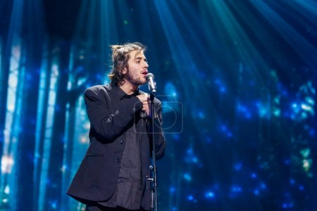 Photo for KYIV, UKRAINE - MAY 12, 2017:  Salvador Sobral from Portugal at the Grand Final rehearsal during Eurovision Song Contest, in Kyiv, Ukraine - Royalty Free Image