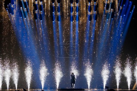 Photo pour KYIV, UKRAINE - MAY 12, 2017: Isaiah Firebrace from Australia at the Grand Final rehearsal during Eurovision Song Contest, in Kyiv, Ukraine - image libre de droit
