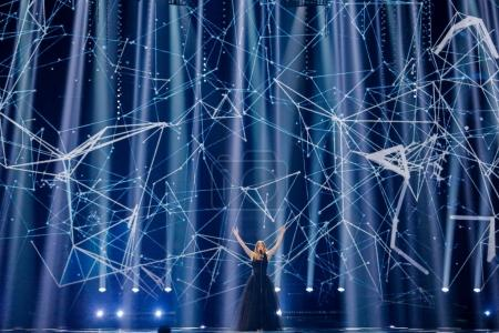 Photo for KYIV, UKRAINE - MAY 12, 2017:   Blanche from Belgium at the Grand Final rehearsal during Eurovision Song Contest, in Kyiv, Ukraine - Royalty Free Image
