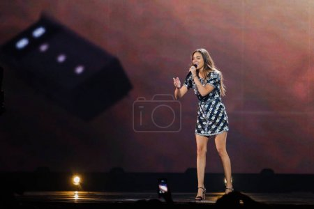 Photo for KYIV, UKRAINE - MAY 12, 2017:   Alma from France at the Grand Final rehearsal during Eurovision Song Contest, in Kyiv, Ukraine - Royalty Free Image