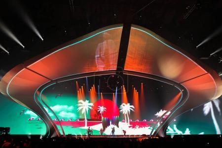 Photo pour Kiev, Ukraine - 12 mai 2017: Isaïe Firebrace de l'Australie à la répétition de la grande finale durant le concours Eurovision de la chanson, à Kiev, Ukraine - image libre de droit