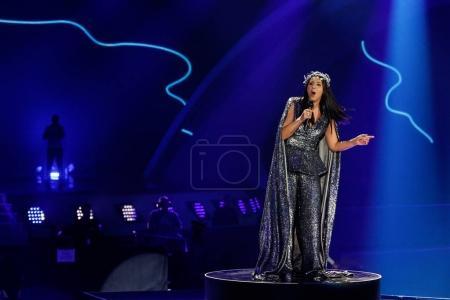 Photo pour KYIV, UKRAINE - 12 MAI 2017 : Jamala d'Ukraine à la grande répétition finale du Concours Eurovision de la chanson, à Kiev, Ukraine - image libre de droit