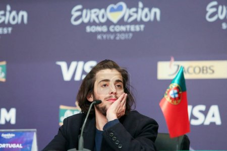 Photo for KYIV, UKRAINE - MAY 14, 2017:   Salvador Sobral from Portugal at the Press conference during Eurovision Song Contest, in Kyiv, Ukraine - Royalty Free Image