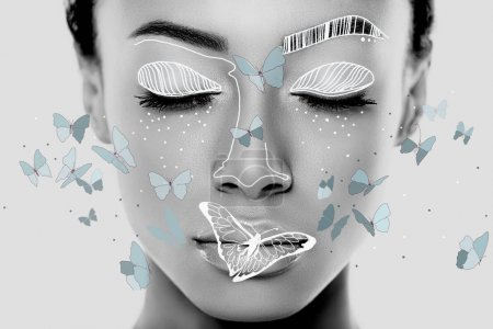 Photo for Close-up portrait of african girl with closed eyes, painted face and butterflies around - Royalty Free Image