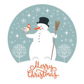 Snowman and bird Christmas illustration
