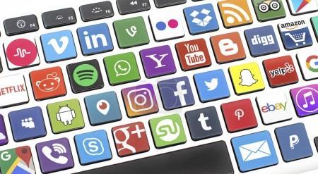 social media icons on computer keyboard