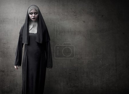 Scary devil nun for halloween concept image...