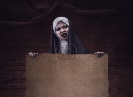 Scary devil nun for halloween concept image. You c...
