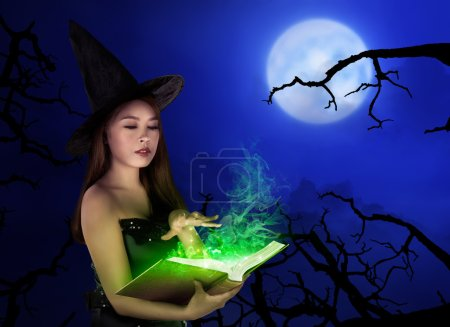 asian witch woman with spell book