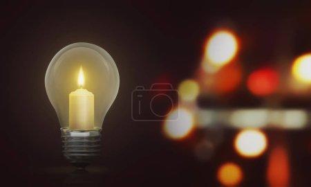 Candlelight on light bulb illuminate the dark room