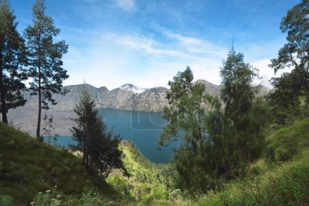 Blue Segara Anak lake on the crater of Mount Rinjani