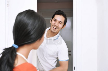 Young asian couple with smile having fun together
