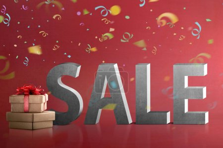Gift boxes with Sale sign over red background. Boxing Day Concept