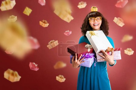 Beautiful asian woman holding many gift box for boxing day over red background