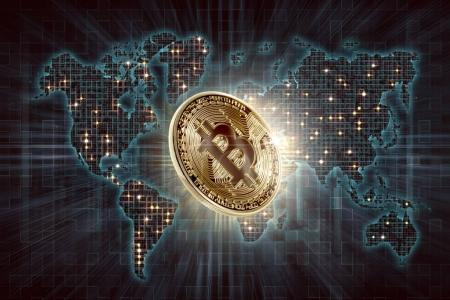 Photo for Gold bitcoin and digital world map background, Cryptocurrency concept - Royalty Free Image