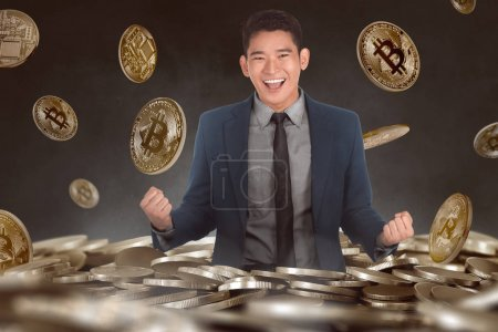 Excited asian businessman