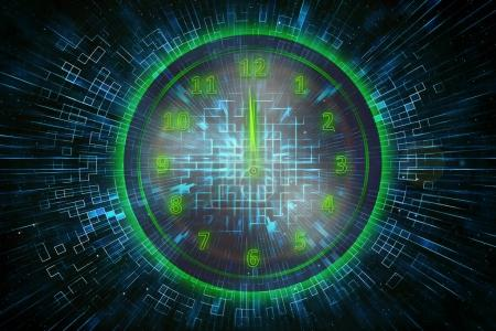 Digital green clock with abstract background
