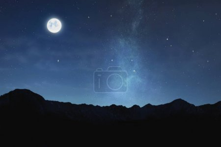 view of moonlight with shiny stars in sky at night