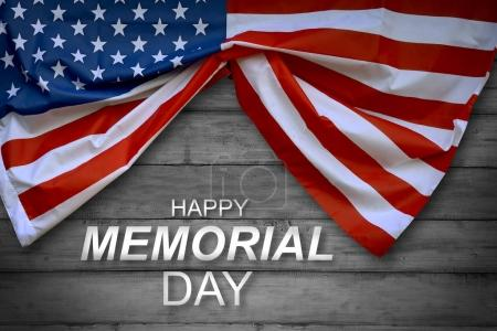 American flag on memorial day in wooden background