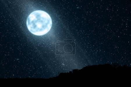 Bright moonlight with many stars on the sky at night