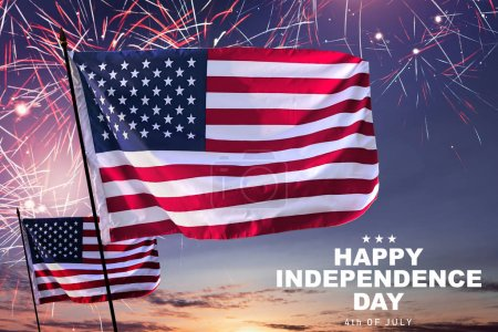 Waving american flag with fireworks background. Happy Independence day