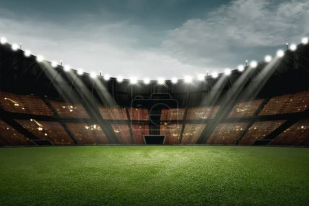 Football stadium design with green grass and light for illumination over sky background