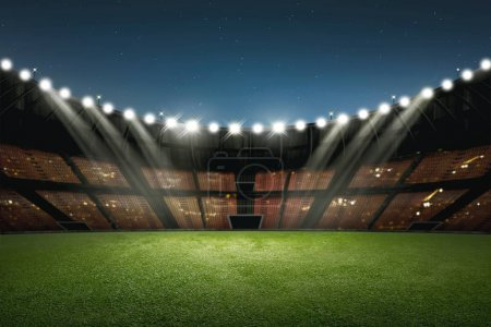 Modern building of soccer stadium with illumination on the night